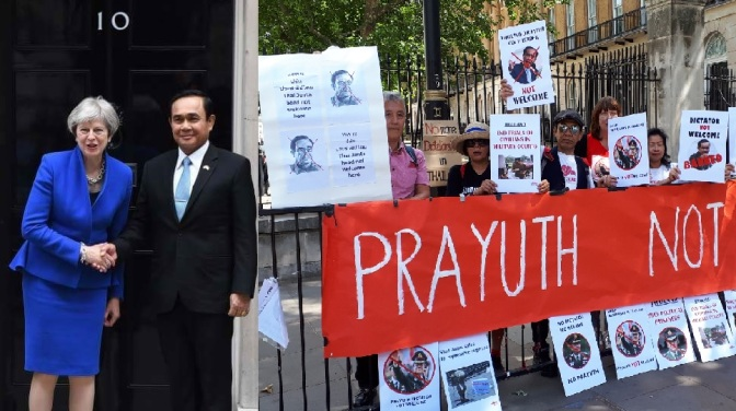 Protests as Dictator Prayut shakes hands with British and French leaders